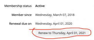 Screen capture of renewal button